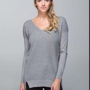 Lululemon The Sweater Life Gray V Neck Sweater